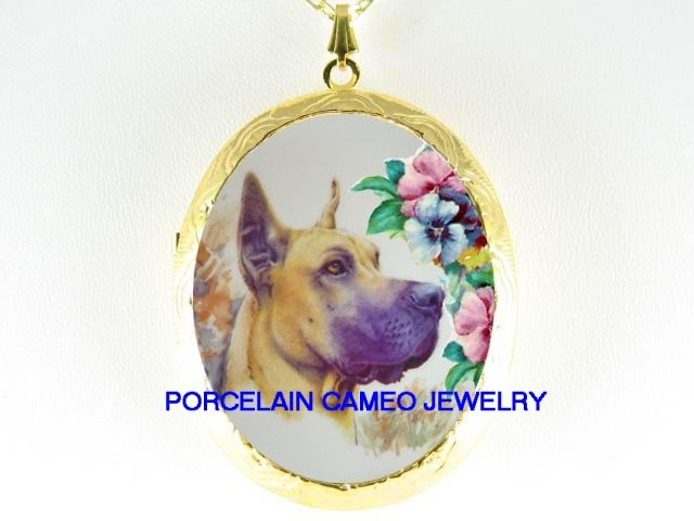GREAT DANE DOG WITH PANSY *  CAMEO PORCELAIN LOCKET NECKLACE