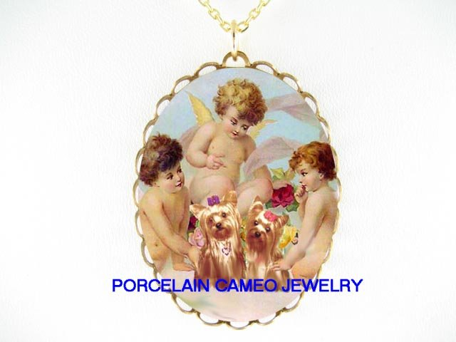 2 YORKSHIRE DOG 3 VICTORIAN ANGEL CHERUB ROSE NECKALCE