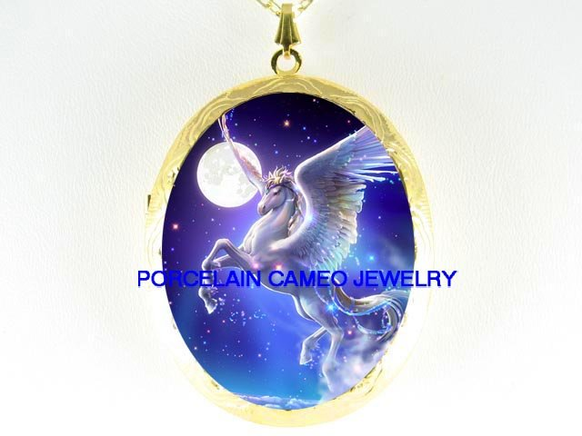 PEGASUS HORSE FULL MOON CAMEO PORCELAIN LOCKET NECKLACE