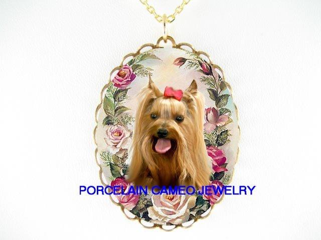 PINK BOW YORKSHIRE TERRIER DOG ROSE  * CAMEO PORCELAIN NECKLACE