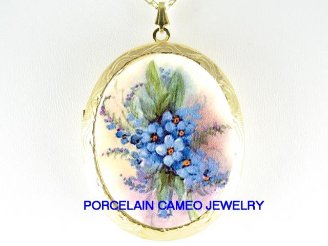 FORGET ME NOT FLOWER PORCELAIN CAMEO LOCKET NECKLACE