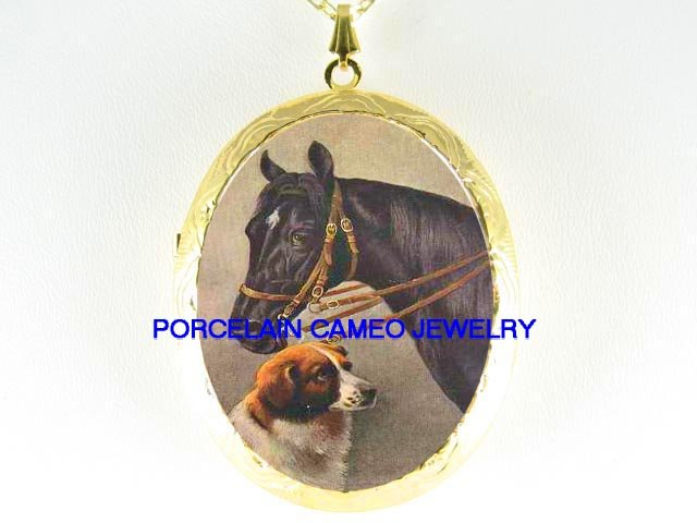 VINTAGE BLACK STALLION HORSE CUDDLING SAINT BERNARD DOG*  CAMEO PORCELAIN LOCKET NECKLACE