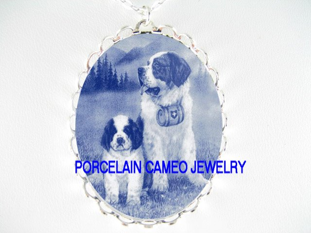 DANISH BLUE 2 SAINT BERNARD DOG MOM PUPPY* CAMEO PORCELAIN NECKLACE