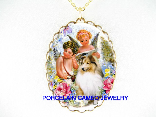 SHELTIE DOG SINGING ANGEL ROSE PORCELAIN CAMEO NECKLACE