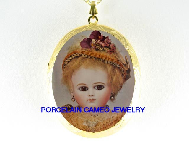 FRENCH ANTIQUE DOLL *  CAMEO PORCELAIN LOCKET NECKLACE