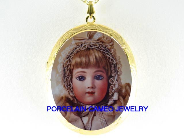 FRENCH DOLL SNOW ANGEL  *  CAMEO PORCELAIN LOCKET NECKLACE