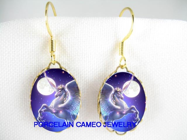 PEGASUS HORSE MOON CAMEO PORCELAIN CAMEO EARRINGS