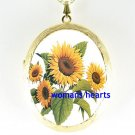 WIDE OPEN SUNFLOWER PORCELAIN CAMEO LOCKET NECKLACE