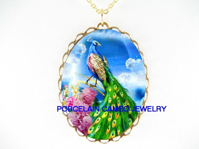 PEACOCK BIRD WITH PINK LILACS  * CAMEO PORCELAIN NECKLACE