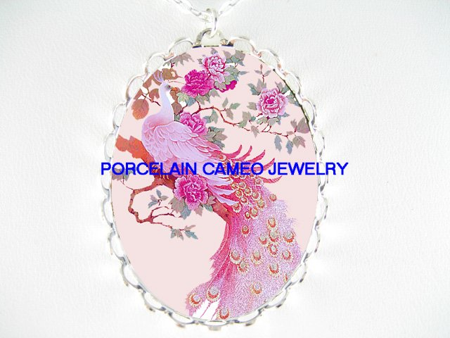 PINK PEACOCK BIRD WITH ROSE* CAMEO PORCELAIN NECKLACE