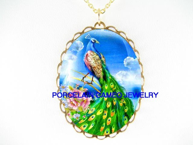 PEACOCK BIRD WITH PINK ROSE  * CAMEO PORCELAIN NECKLACE