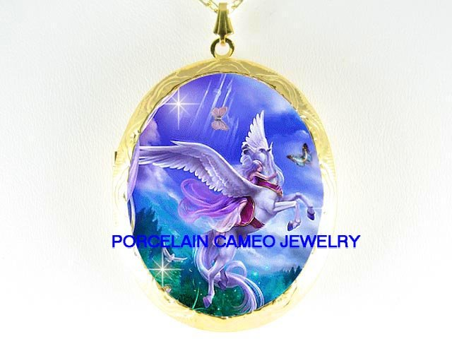 PURPLE PEGASUS HORSE CHASING BUTTERFLY *  CAMEO PORCELAIN LOCKET NECKLACE