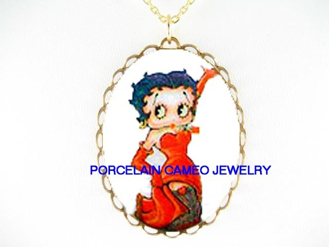 BETTY BOOP RED DRESS NET STOCKING CAMEO PORCELAIN NECKLACE