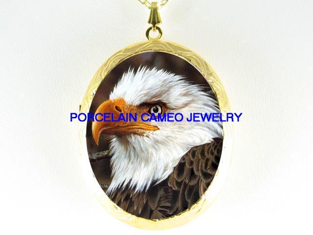 RARE AMERICAN EAGLE CAMEO PORCELAIN LOCKET NECKLACE