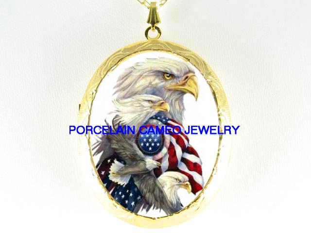 EAGLE COLLAGE AMERICAN FLAG CAMEO PORCELAIN LOCKET NECKLACE