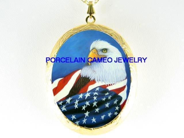 EAGLE AMERICAN FLAG CAMEO PORCELAIN LOCKET NECKLACE