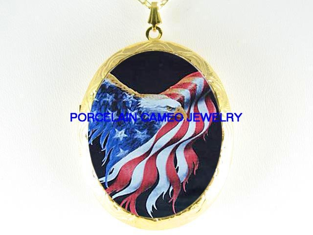 EAGLE AMERICAN FLAG  *  CAMEO PORCELAIN LOCKET NECKLACE