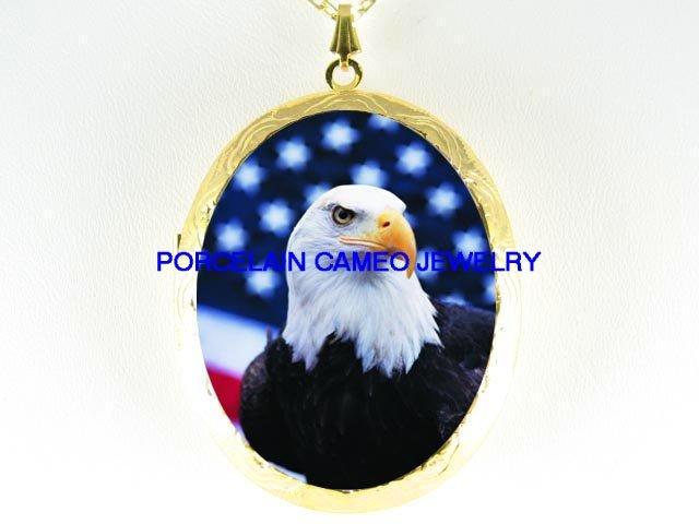 EAGLE AMERICAN FLAG *  CAMEO PORCELAIN LOCKET NECKLACE