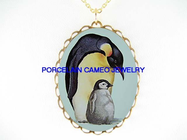 PENGUIN MOM CUDDLING BABY* CAMEO PORCELAIN NECKLACE