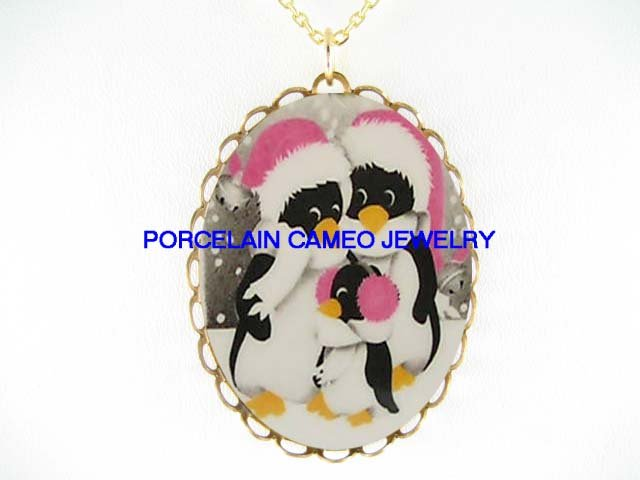 3 PENGUIN FAMILY IN SNOW* CAMEO PORCELAIN NECKLACE