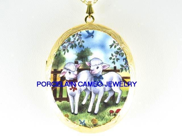 2 BABY LAMB SHEEP WITH BLUE BIRD *  CAMEO PORCELAIN LOCKET NECKLACE