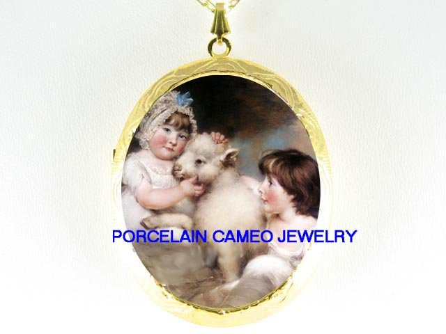 2 VICTORIAN GIRL CUDDLING BABY LAMB SHEEP  *  CAMEO PORCELAIN LOCKET NECKLACE