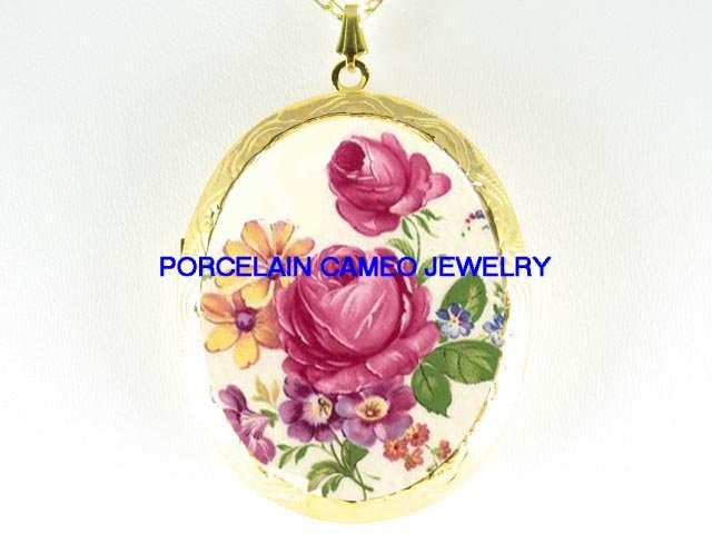 VICTORIAN ROSE WITH DAISY VIOLET*  CAMEO PORCELAIN LOCKET NECKLACE
