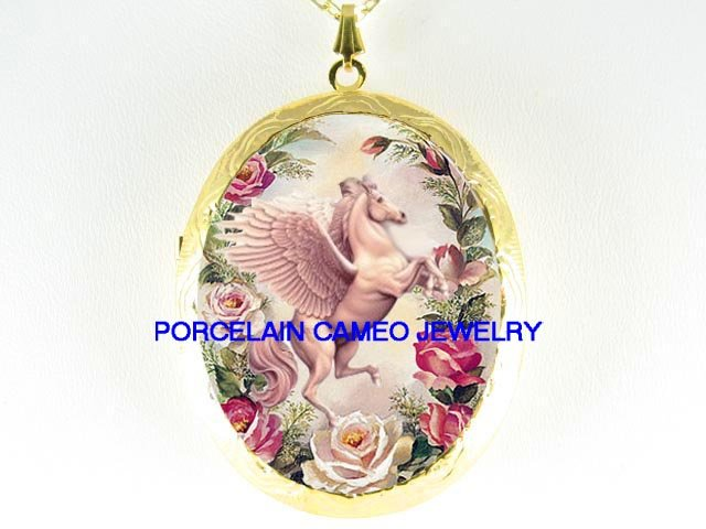 PEGASUS HORSE ROSE CAMEO PORCELAIN LOCKET NECKLACE
