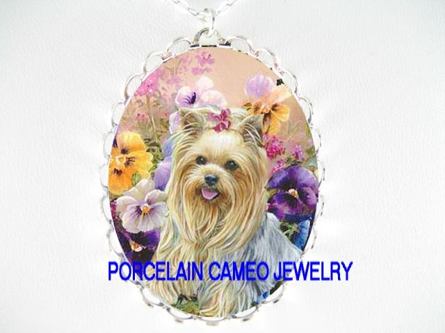 YORKSHIRE DOG COLORFUL PANSY PORCELAIN CAMEO NECKLACE