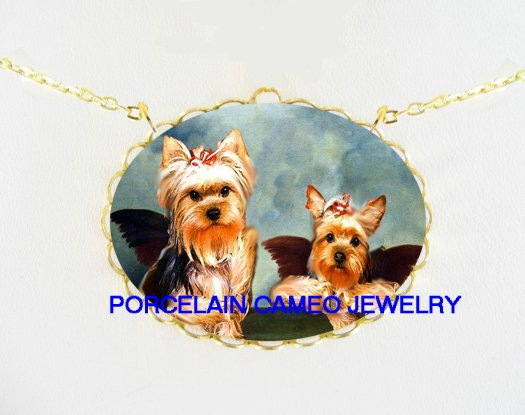 2 RAPHAEL ANGEL CHERUB YORKSHIRE TERRIER DOG NECKLACE