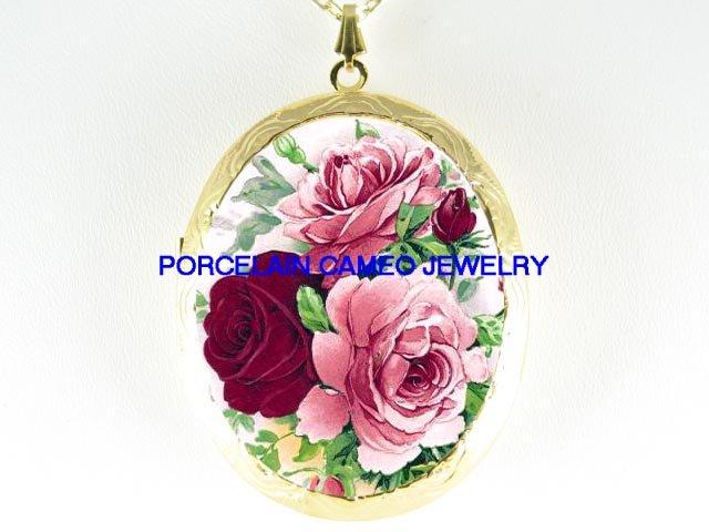 3 VICTORIAN ENGLISH PINK ROSE PORCELAIN CAMEO LOCKET NECKLACE
