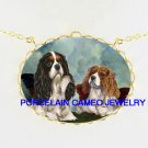 2 RAPHAEL ANGEL CHERUB CAVALIER KING CHARLES SPANIEL DOG PORCELAIN CAMEO NECKLACE