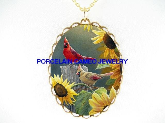 2 CARDINAL BIRD WITH SUNFLOWER* CAMEO PORCELAIN NECKLACE