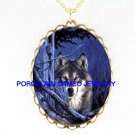 HUNTING GREY WOLF FOREST MOON NIGHT  * CAMEO PORCELAIN NECKLACE