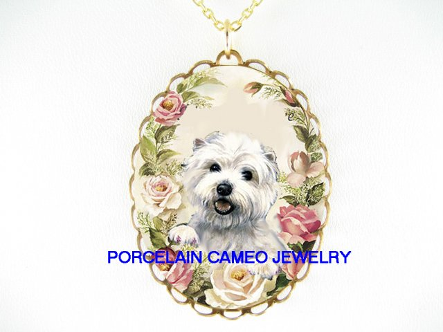 WESTIE HIGHLAND WHITE TERRIER PINK ROSE CAMEO NECKLACE