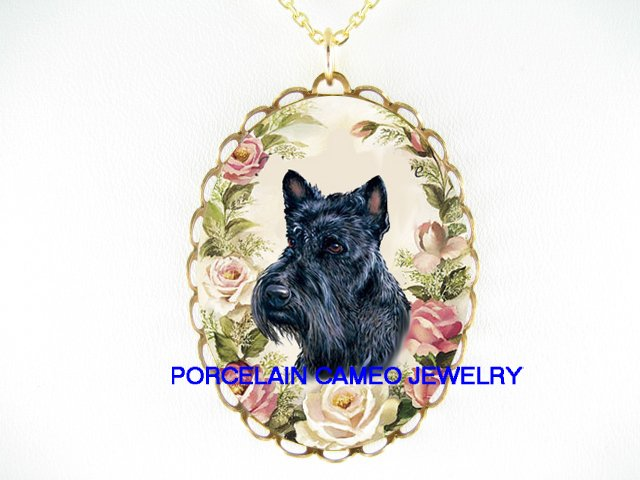 SCOTTISH TERRIER DOG PINK ROSE PORCELAIN CAMEO NECKLACE