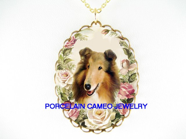 SMILING COLLIE DOG PINK ROSE PORCELAIN CAMEO NECKLACE