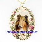 SMILING COLLIE DOG PINK ROSE PORCELAIN CAMEO NECKLACE