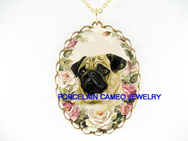 SWEET CUTE PUG DOG PINK ROSE PORCELAIN CAMEO NECKLACE