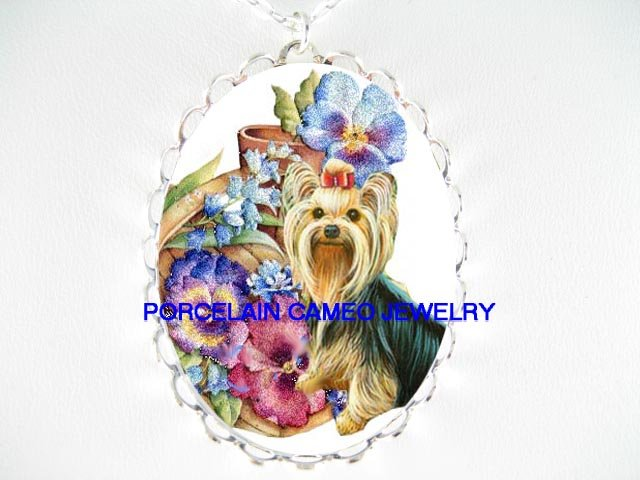 YORKSHIRE TERRIER DOG WITH PANSY BLUE BELL FLOWER* CAMEO PORCELAIN NECKLACE