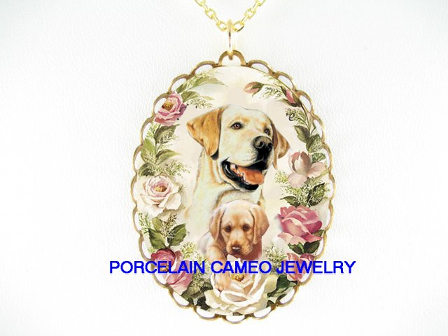 2 LAB RETRIEVER MOM PUPPY ROSE CAMEO PORCELAIN NECKLACE