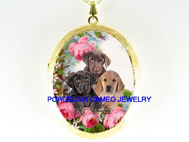 3 CHOCOLATE BLACK LAB RETRIEVER PUPPY DOG ROSE LOCKET