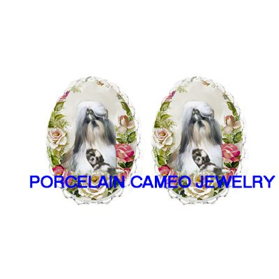 SHIH TZU DOG MOM CUDDLING PUPPY CAMEO CLIP ON EARRINGS