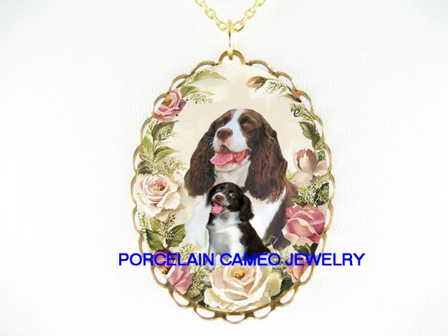 ENGLISH SPRINGER SPANIEL DOG MOM PUPPY CAMEO NECKLACE