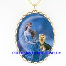 YORKSHIRE TERRIER BUTTERFLY FAIRY MOON CAMEO NECKLACE