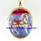 ROSE CAROUSEL HORSE BUBBLE CAMEO PORCELAIN LOCKET NK