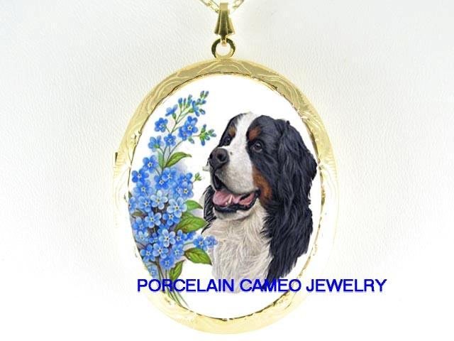 BERNESE MOUNTAIN DOG FORGET ME NOT CAMEO PORCELAIN LOCKET NECKLACE
