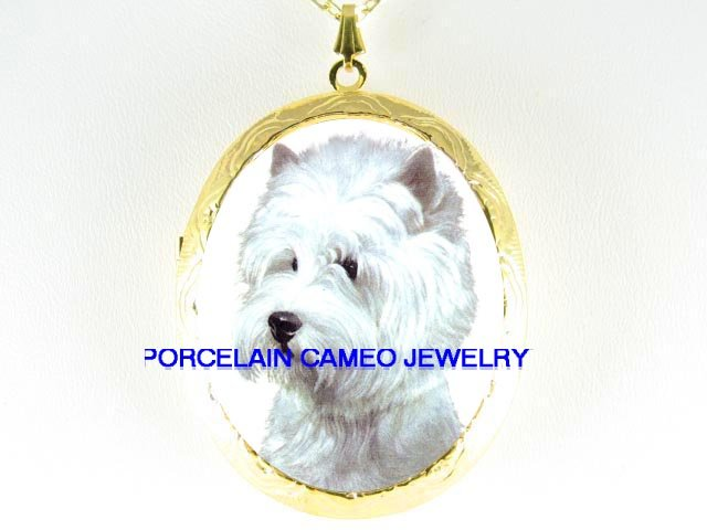 WESTIE HIGHLAND WHITE TERRIER DOG CAMEO LOCKET NECKLACE