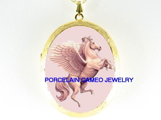 RARE PEGASUS HORSE  *  CAMEO PORCELAIN LOCKET NECKLACE