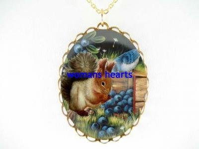 SQUIRREL WITH BLUE BERRY BIRD PORCELAIN CAMEO NECKLACE